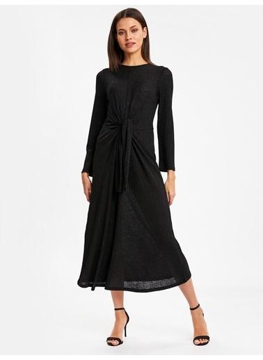 LC Waikiki Işıltılı Uzun Esnek Elbise Siyah